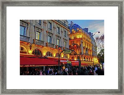 The Boulevard Saint Michel At Dusk In Paris, France Framed Print by Richard Rosenshein