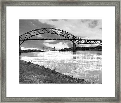 Framed Print featuring the photograph The Bourne And Railroad Bridges by Michelle Wiarda