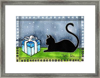 The Box Is Mine - Christmas Cat Framed Print