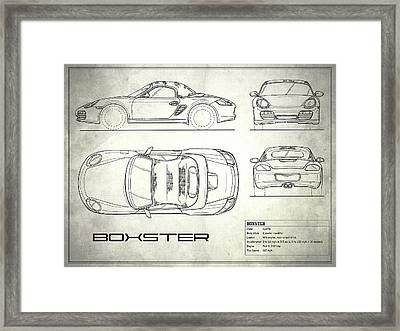 The Boxster Blueprint - White Framed Print