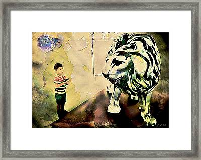 The Boy And The Lion Graffiti Creator,street-art Graffiti,street-art,graffiti Art Street,banksy Art, Framed Print
