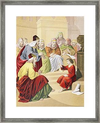 The Boy Jesus Debating With Priests And Framed Print by Vintage Design Pics