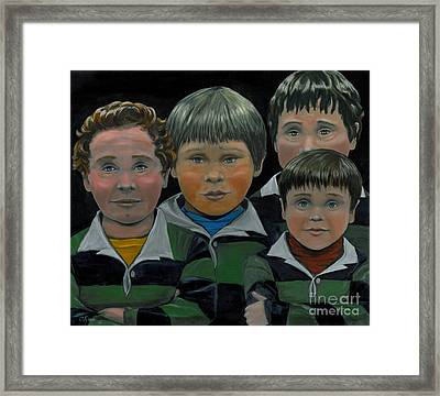 Framed Print featuring the painting The Boys Down The Street by Gail Finn