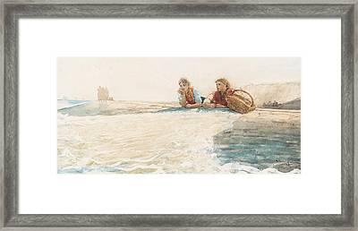 The Breakwater Framed Print by Winslow Homer