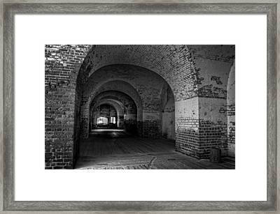 The Bricks Of Fort Pulaski In Black And White Framed Print