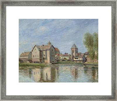 The Bridge And Mills Of Moret Sur Loing Framed Print by Alfred Sisley