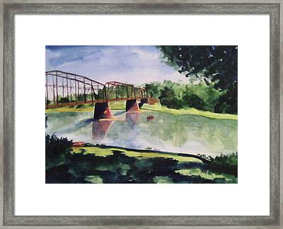 Framed Print featuring the painting The Bridge At Ft. Benton by Andrew Gillette