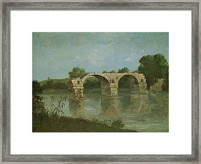 The Bridge At Ambrussum Framed Print by Gustave Courbet