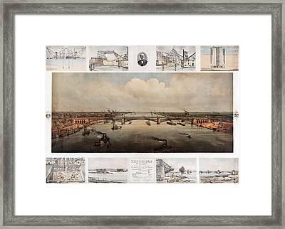 The Bridge At St. Louis, Missouri, Ca. 1874 Framed Print