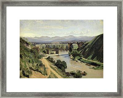 The Bridge Of Augustus Over The Nera Framed Print by Jean Baptiste Camille Corot