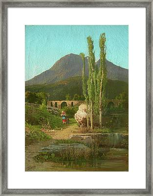 The Bridge Of Cava Dei Tirreni In The Background Framed Print by MotionAge Designs
