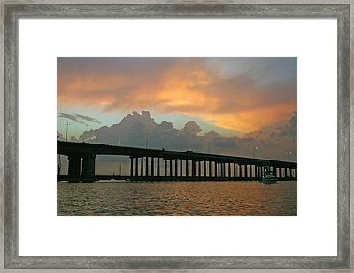 The Bridge To Galveston Framed Print by Robert Anschutz