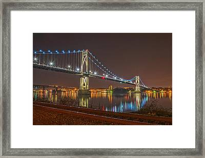 The Bridge With Blue Holiday Lights Framed Print