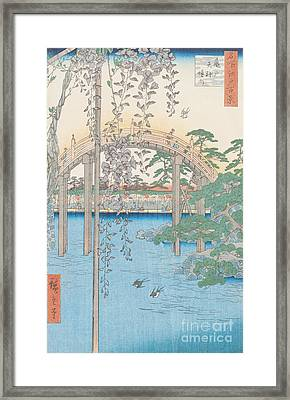 The Bridge With Wisteria Framed Print by Hiroshige