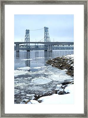 The Bridges Of Bath In Winter Framed Print