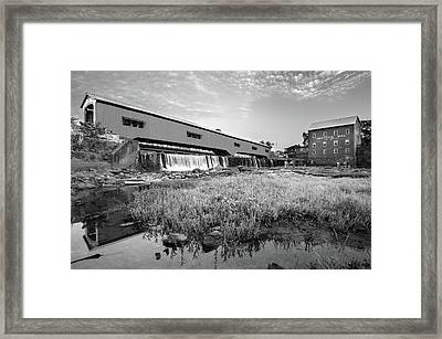 The Bridgeton Mill And Covered Bridge - Indiana - Monochrome Framed Print