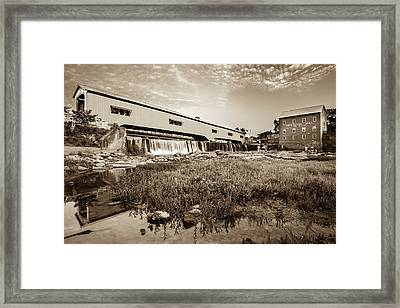 The Bridgeton Mill And Covered Bridge - Indiana - Sepia Tone Framed Print by Gregory Ballos