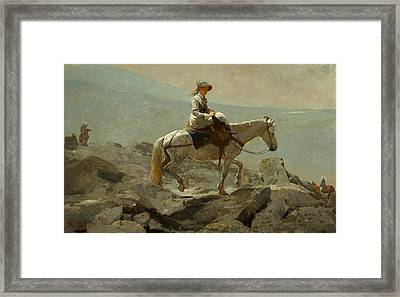 The Bridle Path White Mountains Framed Print by Winslow Homer