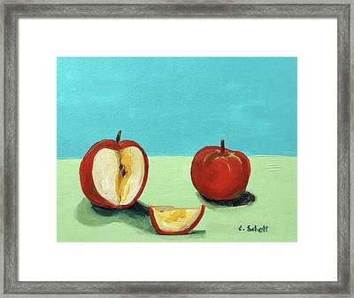 The Brilliant Red Apples With Wedge Framed Print