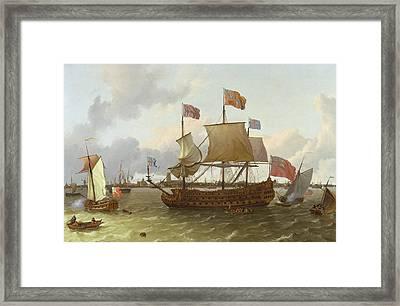 The Britannia In Rotterdam Framed Print by Ludolf Backhuysen