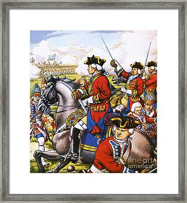 The British Life Guards Clash With The French At Fontenoy In 1745 Framed Print