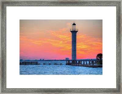 The Broadwater Beach Marina Light Framed Print by JC Findley