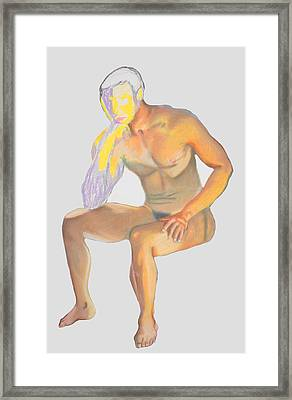 Framed Print featuring the pastel The Broken Man by Jean Haynes