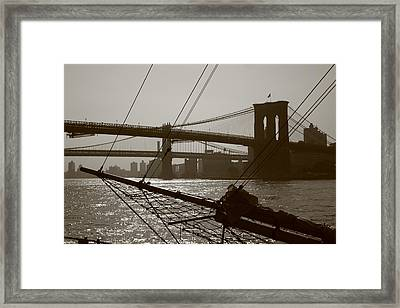 The Brooklyn And Manhattan Bridges Framed Print by Christopher Kirby