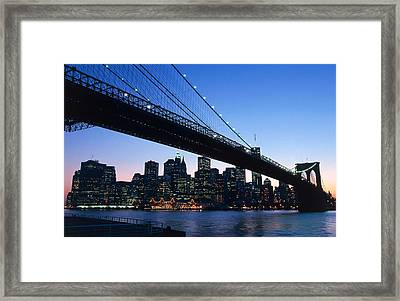 The Brooklyn Bridge Framed Print by American School