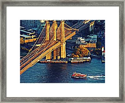 Framed Print featuring the photograph The Brooklyn Bridge At Sunset   by Sarah Loft