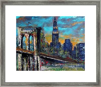The Brooklyn Bridge Framed Print by Frances Marino
