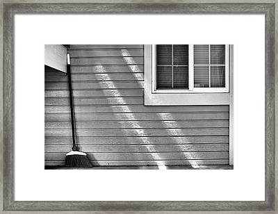 The Broom And Sunbeams Framed Print by Monte Stevens