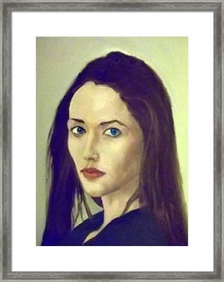 The Brunette With Blue Eyes Framed Print