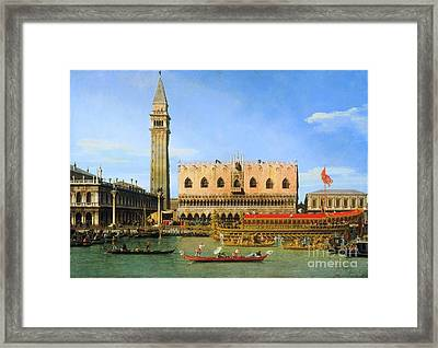 The Bucintoro At The Molo On Ascension Day  Framed Print by Canaletto