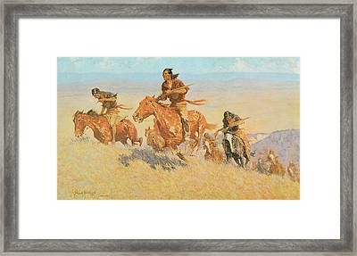 The Buffalo Runners Big Horn Basin Framed Print by Frederic Remington