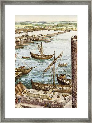 The Building Of The New London Bridge Framed Print