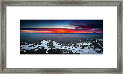 Framed Print featuring the photograph The Burning Clouds At Crater Lake by William Lee