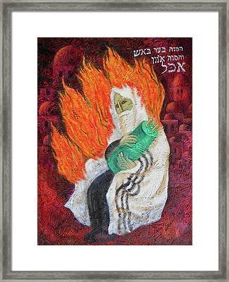The Bush Was Burning In The Fire, But The Bush Was Not Consumed Framed Print by Leon Zernitsky