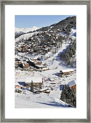 The Busy Chaudanne In Meribel The Heart Of Meribel In The Three Valleys Resort France Framed Print by Andy Smy