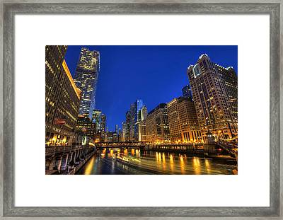 Framed Print featuring the photograph The Busy River In Chicago by Shawn Everhart