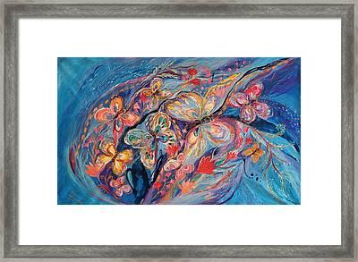 The Butterflies On Blue Framed Print