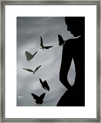 Framed Print featuring the painting The Butterfly Men by Edwin Alverio