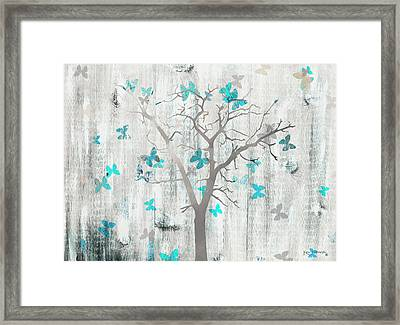The Butterfly Tree Blue Framed Print