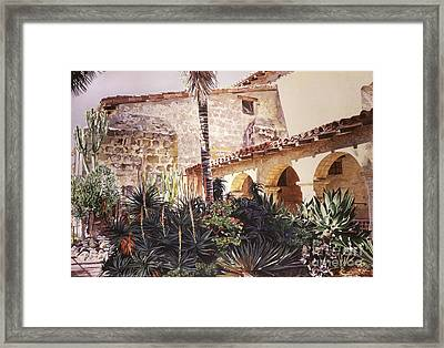 The Cactus Courtyard - Mission Santa Barbara Framed Print