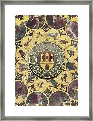 The Calendar Plate With Coat Of Arms Of Prague, Czech Republic. Wallpaper Background Framed Print by Michal Bednarek
