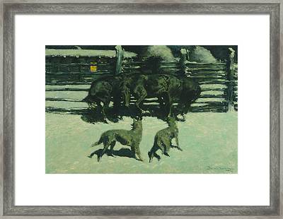 The Call For Help Framed Print by Frederic Remington