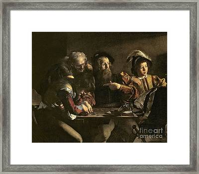 The Calling Of St. Matthew Framed Print by Michelangelo Merisi da Caravaggio