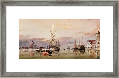 The Canale Della Giudecca With The Redentore Beyond Framed Print
