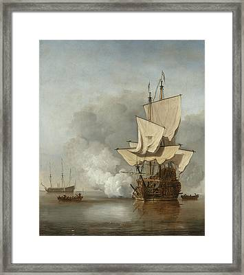 The Cannon Shot Framed Print by Willem Van De Velde The Younger