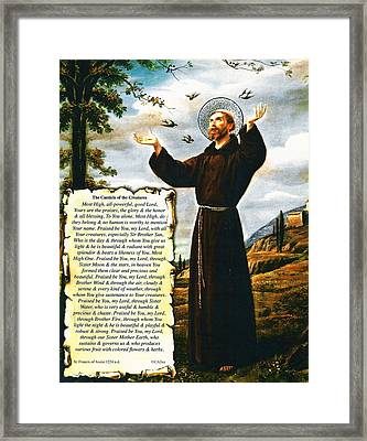The Canticle Of The Creatures By St. Francis Of Assisi Framed Print by Desiderata Gallery